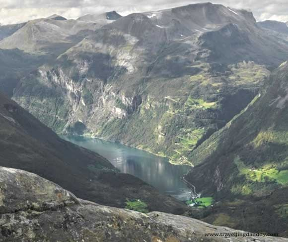 Geiranger viewed from Dalsnibba with the Eagles road in the background
