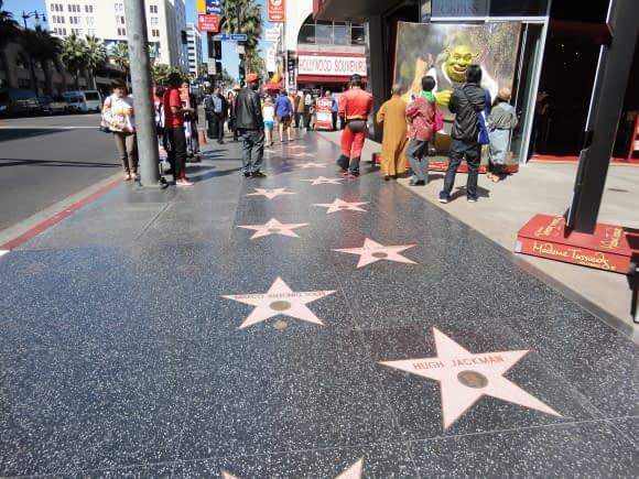 On the Hollywood Boulevard, you're walking on stars