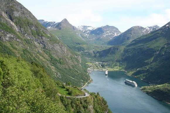 """Geiranger seen from """"Ørnesvingen"""" or """"The Eagles Bend"""