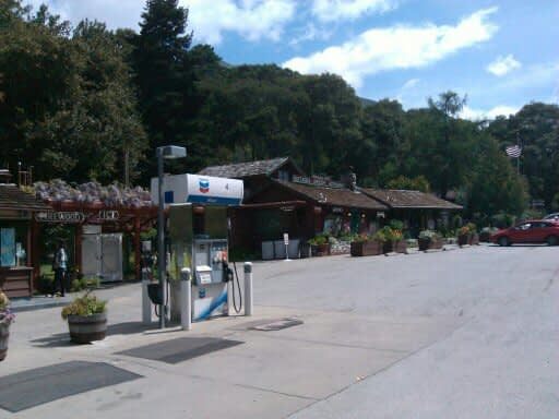 A single pump Gas Station, just north of the Nepenthe